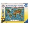 פאזל מפת עולם בעלי חיים - 300 חלקים